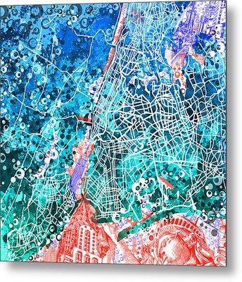New York Map Abstract Metal Print by Bekim Art