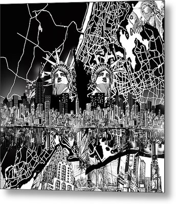 New York Map Black And White 2 Metal Print by Bekim Art