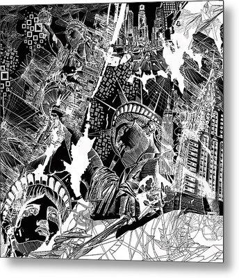 New York Map Black And White Metal Print by Bekim Art