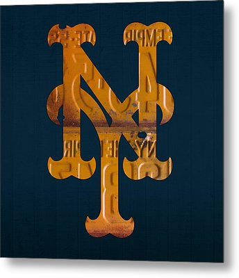 New York Mets Baseball Vintage Logo License Plate Art Metal Print by Design Turnpike