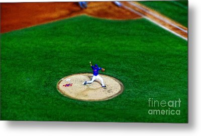 New York Mets Pitcher Abstract Metal Print