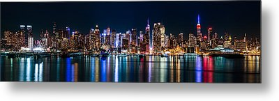 New York Panorama By Night Metal Print by Mihai Andritoiu