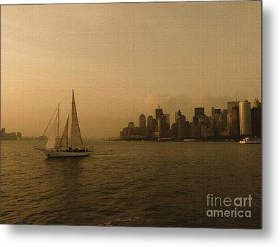 New York Sailing At Sunset Metal Print by Avis  Noelle
