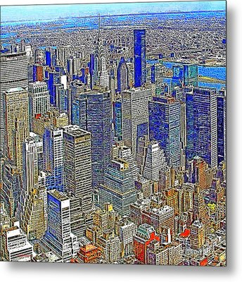 New York Skyline 20130430v4-square Metal Print by Wingsdomain Art and Photography