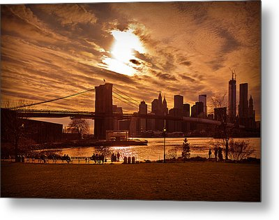 Metal Print featuring the photograph New York Skyline And Brooklyn Bridge -- Late Afternoon by Mitchell R Grosky