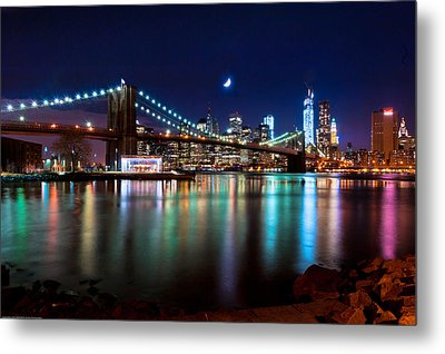 Metal Print featuring the photograph New York Skyline And Brooklyn Bridge With Crescent Moon Rising by Mitchell R Grosky