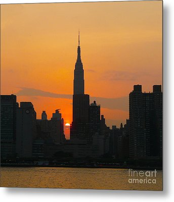 New York Skyline At Sunset Metal Print by Avis  Noelle