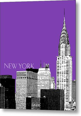 New York Skyline Chrysler Building - Purple Metal Print