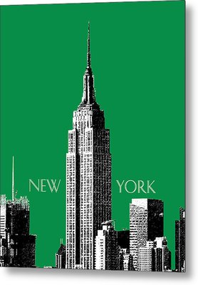 New York Skyline Empire State Building - Forest Green Metal Print