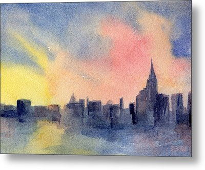 New York Skyline Empire State Building Pink And Yellow Watercolor Painting Of Nyc Metal Print by Beverly Brown