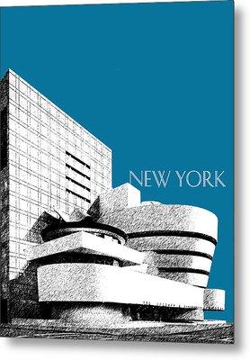 New York Skyline Guggenheim Art Museum - Steel Blue Metal Print