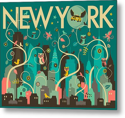 New York Skyline Metal Print by Jazzberry Blue