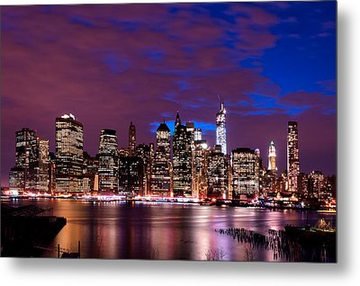 Metal Print featuring the photograph New York Skyline Magic Hour-- From Brooklyn Heights Promenade by Mitchell R Grosky
