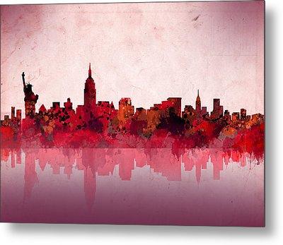 New York Skyline Red Metal Print