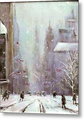 New York Snow Day Metal Print