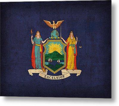 New York State Flag Art On Worn Canvas Metal Print