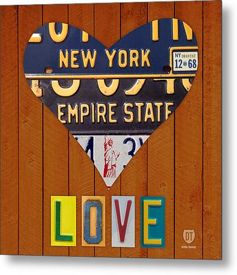 New York State Love Heart License Plate Art Series On Wood Boards Metal Print by Design Turnpike