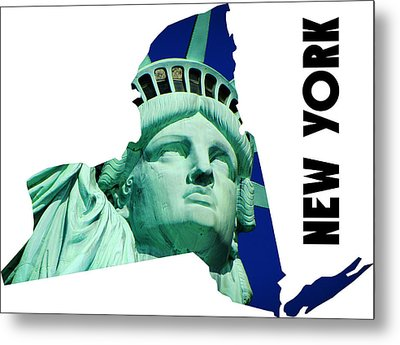 New York State Map Metal Print by Celestial Images