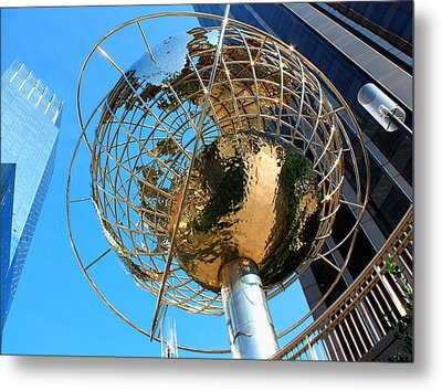 New York Steel Globe Metal Print by Jenny Hudson