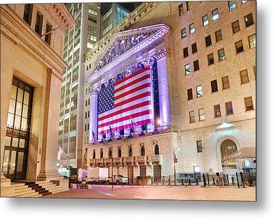 New York Stock Exchange At Night Metal Print