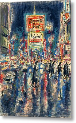 New York Times Square - Watercolor Metal Print by Art America Gallery Peter Potter