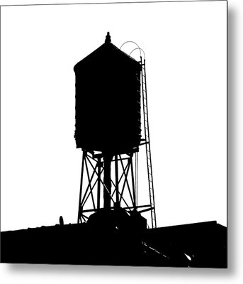 New York Water Tower 17 - Silhouette - Urban Icon Metal Print by Gary Heller