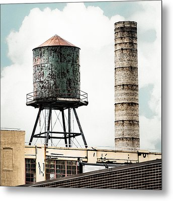 Water Tower And Smokestack In Brooklyn New York - New York Water Tower 12 Metal Print by Gary Heller