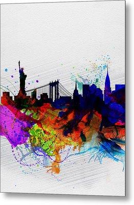 New York  Watercolor Skyline 1 Metal Print by Naxart Studio