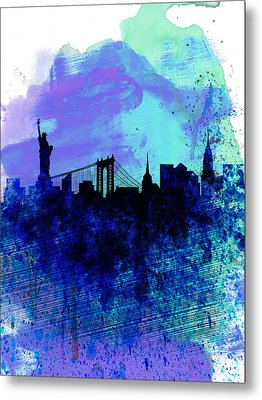 New York  Watercolor Skyline 2 Metal Print by Naxart Studio