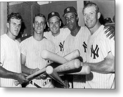 New York Yankee Sluggers Metal Print by Underwood Archives