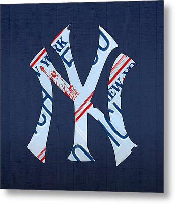 New York Yankees Baseball Team Vintage Logo Recycled Ny License Plate Art Metal Print by Design Turnpike