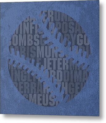 New York Yankees Baseball Typography Famous Player Names On Canvas Metal Print by Design Turnpike