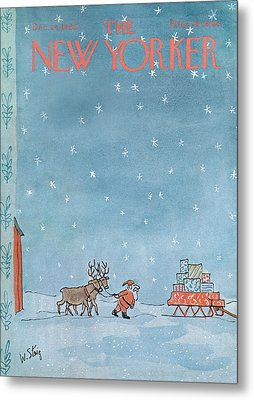 New Yorker December 24th, 1966 Metal Print by William Steig