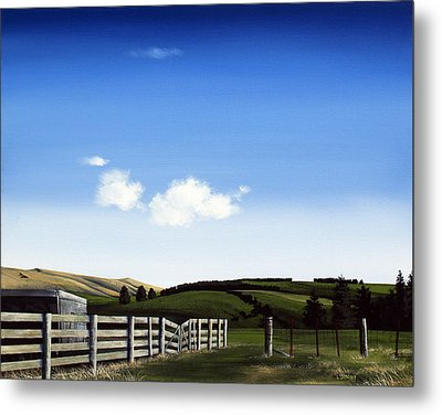 New Zealand Farm Gate By Linelle Stacey Metal Print