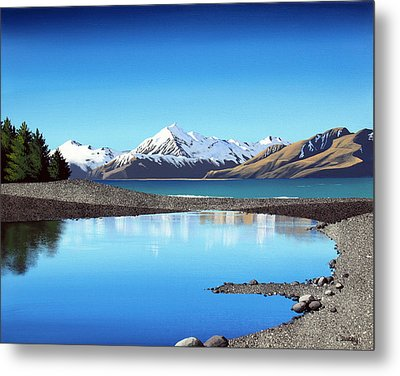 New Zealand Pukaki Stones By Linelle Stacey  Metal Print