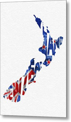 New Zealand Typographic Map Flag Metal Print