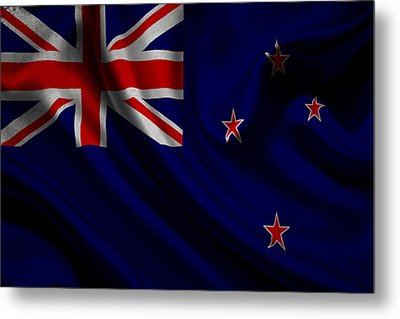 New Zealands Flag Waving On Canvas Metal Print by Eti Reid