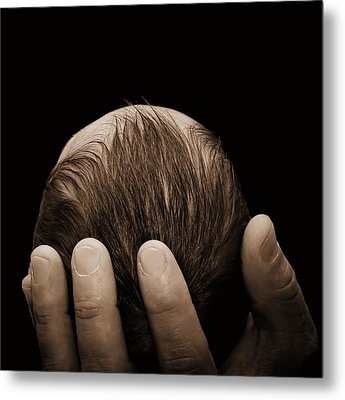 Metal Print featuring the photograph Newborn In Hand Of His Father by Tracie Kaska