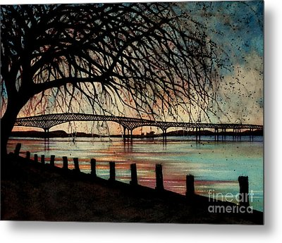 Newburgh Beacon Bridge Sunset Metal Print by Janine Riley