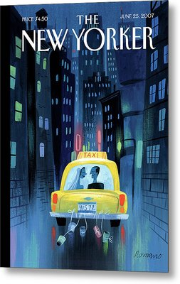 Newlywed Couple In A Taxi Metal Print by Lou Romano
