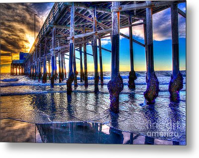 Newport Beach Pier - Low Tide Metal Print
