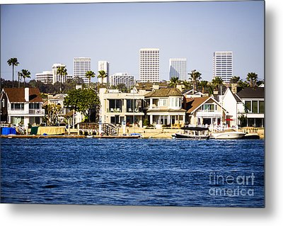 Newport Beach Skyline And Waterfront Homes Picture Metal Print by Paul Velgos