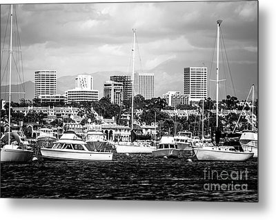 Newport Beach Skyline Black And White Picture Metal Print by Paul Velgos