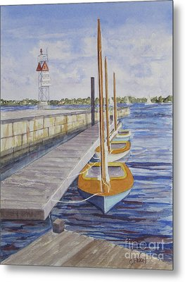 Metal Print featuring the painting Newport Boats In Waiting by Carol Flagg
