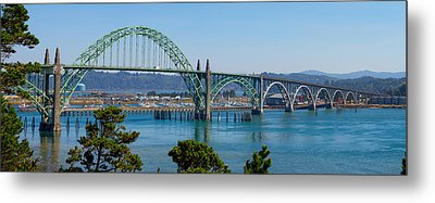 Metal Print featuring the tapestry - textile Newport Bridge by Dennis Bucklin