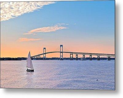 Newport Bridge Twilight Sunset With Sailboat Rhode Island Usa Metal Print