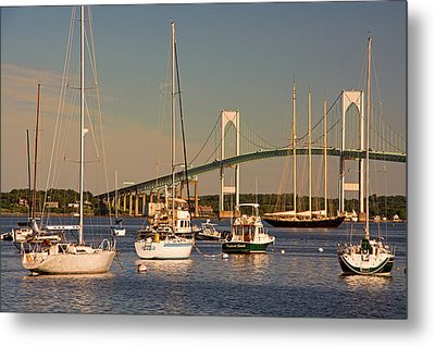 Newport Harbor With Pell Bridge Metal Print