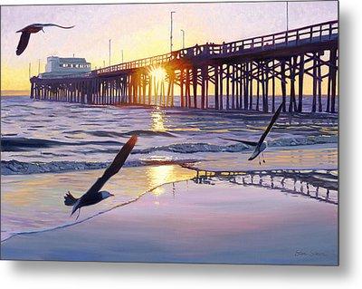 Newport Pier Sunset Metal Print by Steve Simon