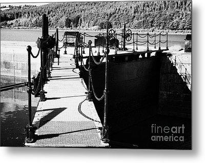Newry Ship Canal Lock Gates And Controls At The Newly Refurbished Victoria Lock At Carlingford Lough Metal Print by Joe Fox
