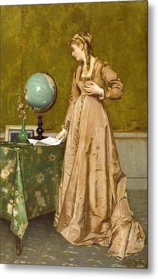 News From Afar Metal Print by Alfred Emile Stevens